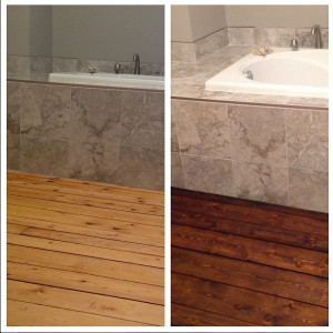 1. Progress! We sanded, repaired and stained the master bath floors.